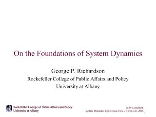 On the Foundations of System Dynamics