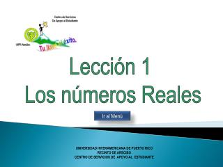 Lección 1 Los números Reales