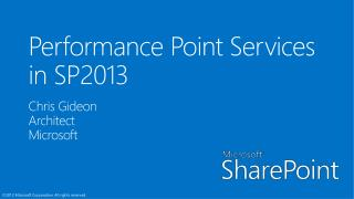 Performance Point Services in SP2013