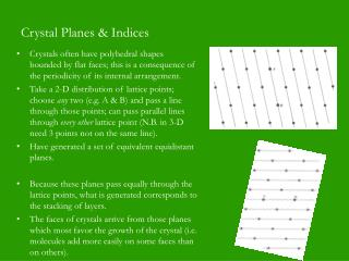 Crystal Planes & Indices