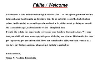 Fáilte  / Welcome