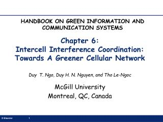 Chapter 6: Intercell Interference Coordination: Towards A Greener Cellular Network
