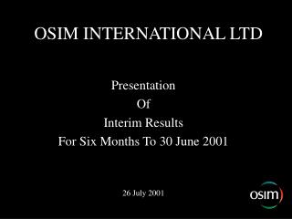 OSIM INTERNATIONAL LTD