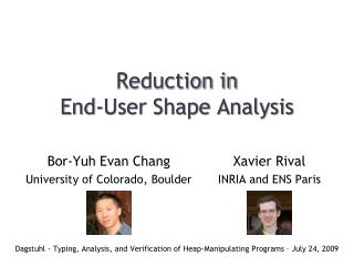 Reduction in End-User Shape Analysis