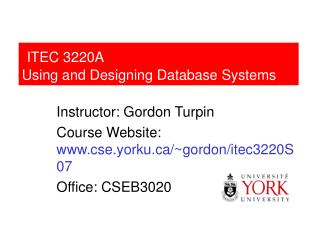 ITEC 3220A Using and Designing Database Systems