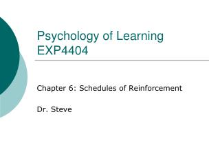 Psychology of Learning EXP4404