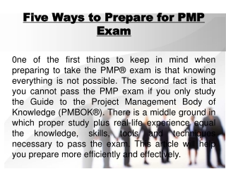 Five ways to prepare for PMP Certification Exam