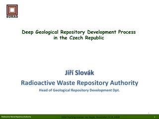 Deep Geological Repository Development Process  in the Czech Republic