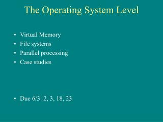 The Operating System Level