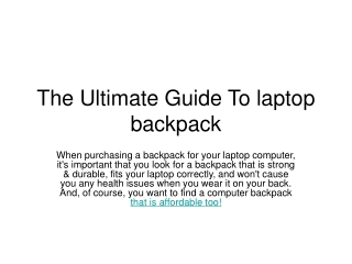 The Ultimate Guide To laptop backpack