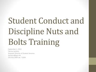 Student Conduct and Discipline Nuts and Bolts Training