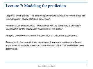 Lecture 7: Modeling for prediction