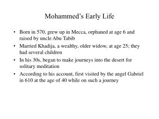 Mohammed s Early Life