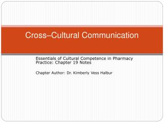 Cross–Cultural Communication