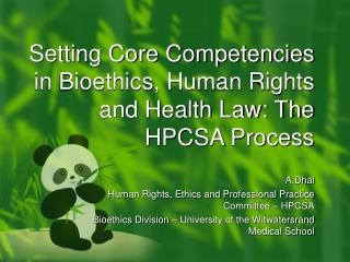 Setting Core Competencies in Bioethics, Human Rights and Health Law: The HPCSA Process