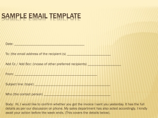 Sample Email Template