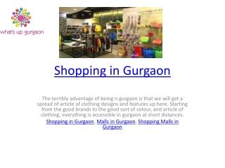 Shopping in Gurgaon
