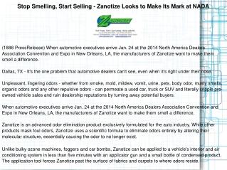 Stop Smelling, Start Selling - Zanotize Looks to Make