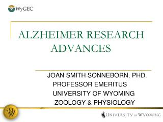 ALZHEIMER RESEARCH          		ADVANCES