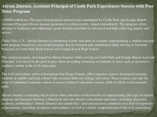 abram jimenez, assistant principal of castle park experience