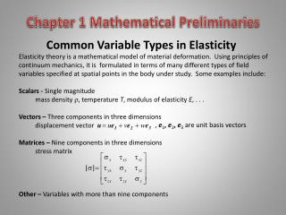 Common Variable Types in Elasticity