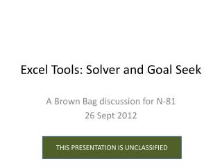 Excel Tools: Solver and Goal Seek
