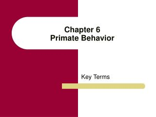 Chapter 6 Primate Behavior