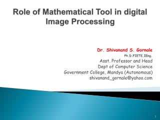 Role of Mathematical Tool in digital Image Processing