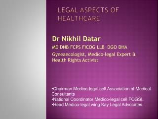 Legal aspects of healthcare