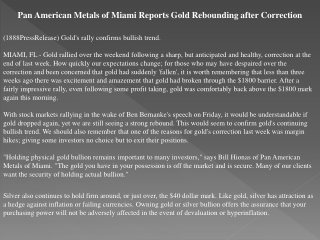 pan american metals of miami reports gold rebounding after c