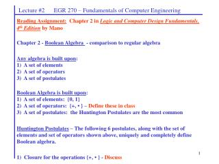 Lecture #2      EGR 270 – Fundamentals of Computer Engineering