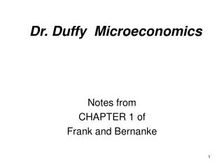Dr. Duffy  Microeconomics