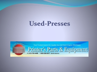 Printer's Parts and Equipments