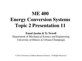 ME 400 Energy Conversion Systems Topic 2 Presentation 11