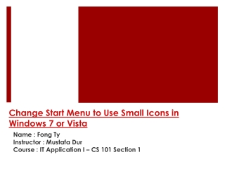 Change Start Menu to Use Small Icons in Windows 7 or Vista