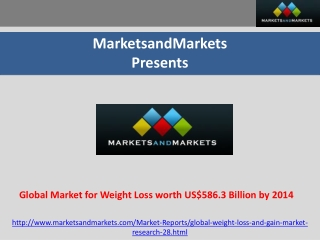Global Market for Weight Loss Worth US$586.3 Billion by 2014