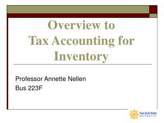 Overview to  Tax Accounting for Inventory