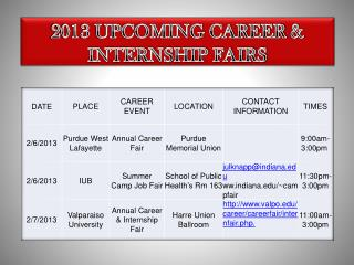 2013 UPCOMING CAREER  INTERNSHIP FAIRS