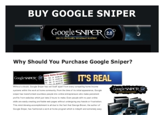 Guarantee Online Earnings with Google Sniper 2
