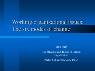 Working organizational issues: The six modes of change