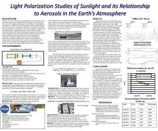 Light Polarization Studies of Sunlight and its Relationship to Aerosols in the Earth's Atmosphere