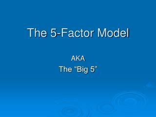 The 5-Factor Model