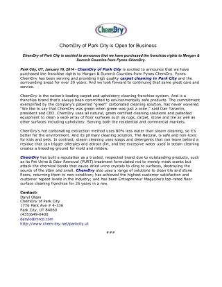 ChemDry of Park City is Open for Business