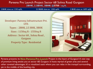 Pareena Pre Launch Project Sector 68 Sohna Road Gurgaon Revi