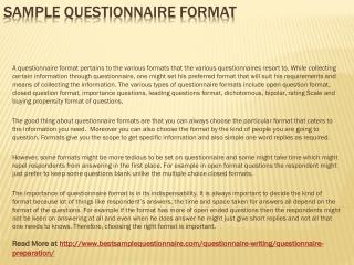 Sample Questionnaire Format