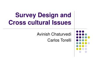 survey design and cross cultural issues