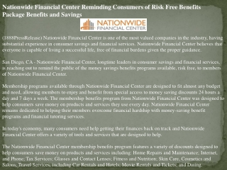 nationwide financial center reminding consumers of risk free