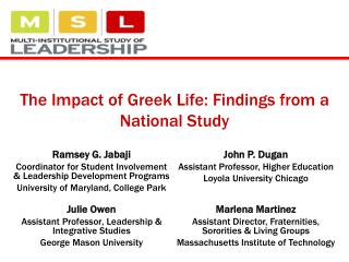 The Impact of Greek Life: Findings from a National Study