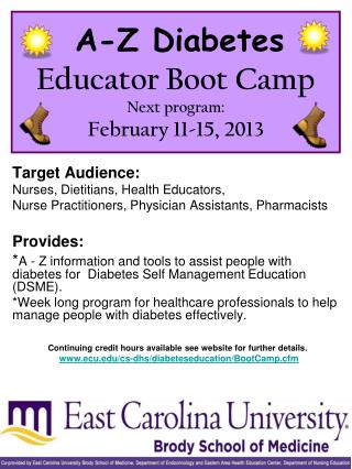 A-Z Diabetes Educator Boot Camp Next program: February 11-15, 2013