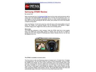 Samsung ST600 Review